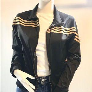 Adidas UK Black With Gold Stripes Track Jacket M